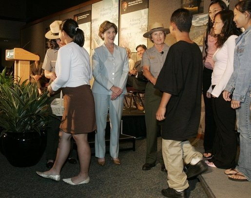 Laura Bush meets members of the Junior Rangers, following their swearing-in ceremony, July 27, 2005, at the Minnesota Science Museum in St. Paul, Minnesota. White House photo by Krisanne Johnson