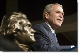 President George W. Bush speaks to the American Legislative Exchange Council next to their Thomas Jefferson Freedom Award in Dallas, Texas on Wednesday August 3, 2005.  White House photo by Paul Morse