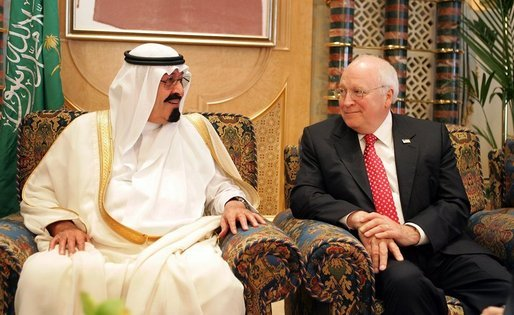 Vice President Dick Cheney meets with newly crowned King Abdullah during a retreat at King Abdullah's Farm in Riyadh, Saudi Arabia Friday, August 5, 2005, following the death of his half-brother King Fahd who passed away August 1, 2005. White House photo by David Bohrer