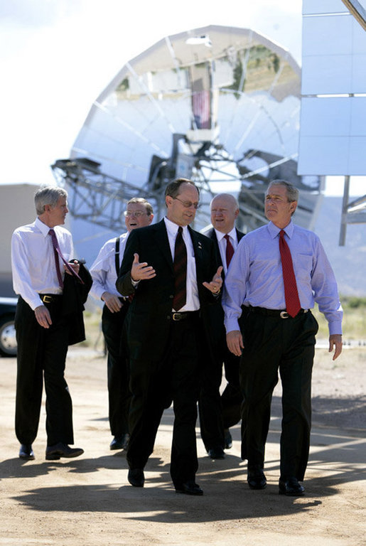 President George W. Bush tours the Sandia Solar Tower Complex lead by Sandia Lab Director Tom Hunter Monday, Aug. 8, 2005 in Albuquerque, New Mexico. Also pictured from left are, Senator Jeff Bingaman (D, NM), Senator Pete Domenici (R, NM) and Secretary of Energy Sam Bodman. White House photo by Eric Draper