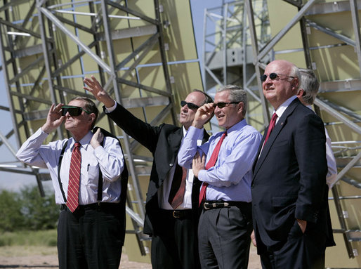 President George W. Bush tours the Sandia Solar Tower Complex lead by Sandia Lab Director Tom Hunter Monday, Aug. 8, 2005 in Albuquerque, New Mexico. Also pictured from left are, Senator Pete Domenici (R, NM) and Secretary of Energy Sam Bodman. White House photo by Eric Draper