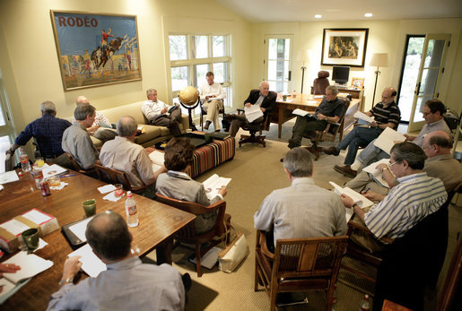 President George W. Bush and Vice President Dick Cheney meet with the President's Economic Advisors Tuesday, Aug. 9, 2005, at the ranch in Crawford, Texas, where they discussed the strength of the country's economy. White House photo by Eric Draper