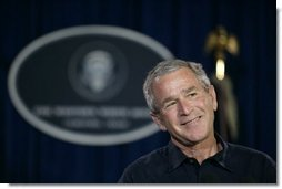 President George W. Bush addresses a news conference, Tuesday, Aug. 9, 2005 at the Bush Ranch in Crawford, Texas, following a meeting to discuss the strength of the U.S. economy. White House photo by Eric Draper