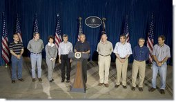 President George W. Bush stands with his economic advisors as he addresses a news conference, Tuesday, Aug. 9, 2005 at the Bush Ranch in Crawford, Texas, following a meeting to discuss the strength of the U.S. economy. From left to right are Dr. Ben Bernanke, chairman of the Council of Economic Advisers; U.S. Trade Representative Rob Portman; U.S. Secretary of Labor Elaine Chao; U.S. Secretary of Agriculture Mike Johanns; U.S. Treasury Secretary John Snow; U.S. Commerce Secretary Carlos Gutierrez; OMB Director Josh Bolten and assistant to the President on economic policy, Allan B. Hubbard. White House photo by Paul Morse