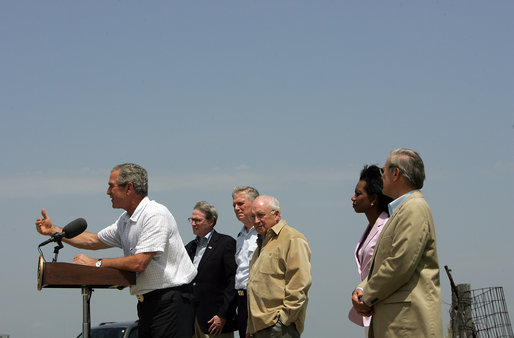 President George W. Bush addresses the media at his Crawford, TX ranch flanked by members of Defense Policy and Programs Team, Secretary of State, and Foreign Policy Team Thursday, August 11, 2005. White House photo by David Bohrer