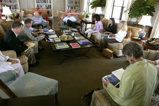President George W. Bush meets with Secretary of State Condoleezza Rice and the Foreign Policy Team at his ranch in Crawford, Texas, Thursday, August 11, 2005. White House photo by Eric Draper