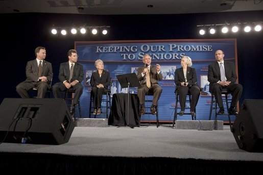 President George W. Bush participates in a Conversation on Medicare Monday, Aug. 29, 2005, at the James L. Brulte Senior Center in Rancho Cucamonga, Calif. White House photo by Paul Morse