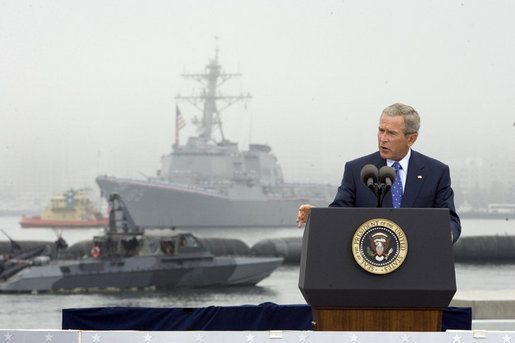 President George W. Bush speaks during a ceremony to commemorate the 60th anniversary of V-J Day at the Naval Air Station in San Diego, Calif., August 30, 2005. White House photo by Paul Morse