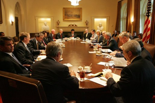 President George W Bush Speaks To Members Of The White