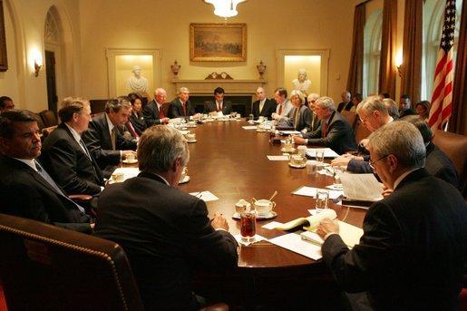 President George W Bush Speaks To Members Of The White