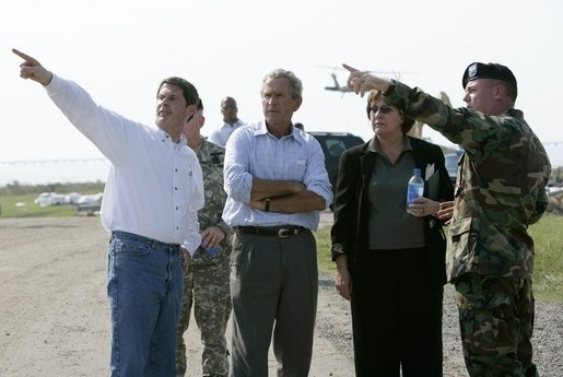 President George W. Bush tours damage in the Township of Metairie where Hurricane Katrina broke through the levee with, from left, Louisiana Senator David Vitter, Governor Kathleen Blanco and Army Corps of Engineers Col. Richard Wagenaar Friday, Sept. 2, 2005. White House photo by Eric Draper