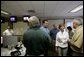 Laura Bush meets with first responders to Hurricane Katrina at the Acadian Ambulance Center in Lafayette, La., Friday, Sept. 2, 2005. White House photo by Paul Morse