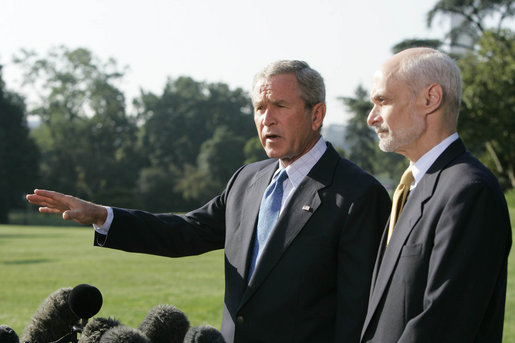 President George W. Bush and Secretary Michael Chertoff of the Department of Homeland Security, brief the media Friday, Sept. 2, 2005, on disaster relief in the wake of Hurricane Katrina. The President left the White House afterwards to fly to the stricken area. White House photo by Paul Morse