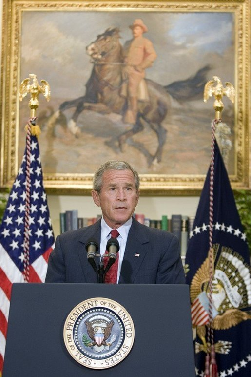 President George W. Bush makes a statement on the passing of Supreme Court Justice William Rehnquist on Sunday September 4, 2005. White House photo by Paul Morse