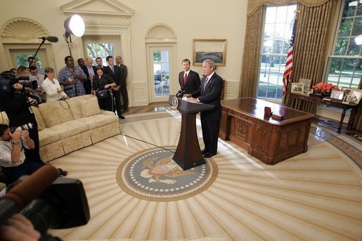 President George W. Bush announces from the Oval Office the nomination of Supreme Court justice nominee John Roberts as his nominee as Chief Justice on Monday morning September 5, 2005. White House photo by Paul Morse