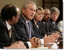 President George W. Bush meets with representatives from national voluntary and charitable organizations, Tuesday, Sept. 6, 2005, in the Roosevelt Room of the White House, to receive an update on the work being done by volunteers and charities in areas affected by Hurricane Katrina.  White House photo by Paul Morse