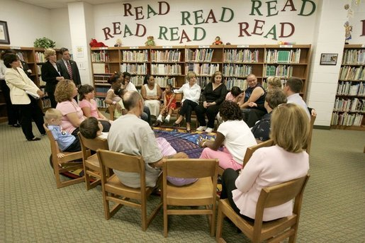Laura Bush meets Thursday, Sept. 8, 2005 with families from New Orleans, displaced last week as a result of Hurricane Katrina, at the Greenbrook Elementary School in DeSoto County, Miss. Greenbrook Elementary School has enrolled the most displaced students among the DeSoto County schools in Mississippi. White House photo by Krisanne Johnson