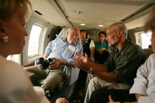 Vice President Dick Cheney tours the flood ravaged areas of Mississippi and Louisiana, Thursday, Sept. 8, 2005, to survey damage and view relief efforts in the wake of Hurricane Katrina. Vice President Cheney and Mrs. Cheney took an aerial tour of the Gulf coast aboard Marine Two with Homeland Security Secretary Michael Chertoff and U.S. Attorney General Alberto Gonzalez. White House photo by David Bohrer