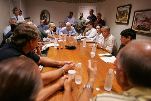 Vice President Dick Cheney meets with local and elected officials, Thursday, Sept. 8, 2005 in Gulfport Miss., while on a tour of the Gulf Coast areas devastated by Hurricane Katrina. White House photo by David Bohrer
