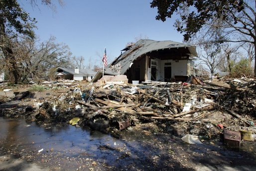 A house located in a Gulfport, Mississippi neighborhood was destroyed by the effects of Hurricane Katrina in the flood ravaged areas Thursday, September 8, 2005. The hurricane hit both Louisiana and Mississippi ten days prior, Monday, August 29th. White House photo by David Bohrer