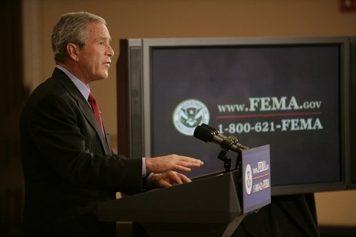 President George W. Bush outlines further assistance to victims of Hurricane Katrina, Thursday, Sept. 8, 2005 in the Eisenhower Executive Office Building in Washington. White House photo by Eric Draper