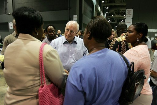 Vice President Dick Cheney visits with families who have been relocated from their homes in Louisiana and Mississippi to the Austin Convention Center in Austin, Texas Saturday, September 10, 2005. The Convention Center has been designated as one of the many temporary shelters for Katrina Hurricane evacuees. White House photo by David Bohrer