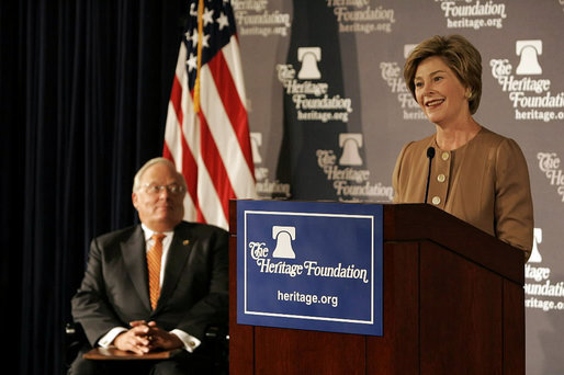 Laura Bush delivers remarks at the Heritage Foundation in New York Wednesday, Sept. 13, 2005. White House photo by Krisanne Johnson