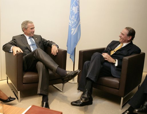 President George W. Bush meets with Jan Eliasson of Sweden, President of the U.N. General Assembly, Tuesday, Sept. 13, 2005, at the United Nations in New York. White House photo by Eric Draper