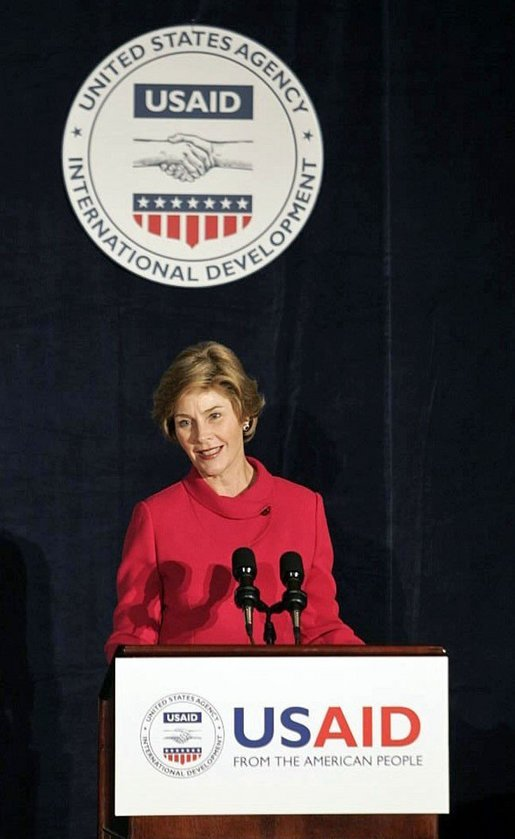 Laura Bush delivers remarks at the USAID Dinner: Fighting Malaria in Africa: Taking Action, Building Partnerships, in New York Wednesday, Sept. 14, 2005. White House photo by Krisanne Johnson