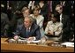 President George W. Bush speaks during the Security Council Summit at the United Nations in New York Wednesday, Sept. 14, 2005. White House photo by Eric Draper