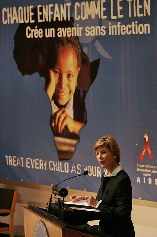 "Laura Bush addresses the Organization of African First Ladies Against HIV/AIDS in New York Thursday, Sept. 15, 2005. ""I want you to know how encouraged I am by your strategy to reach out to adults, to appeal to the conscience of adults, to make sure they can protect children, and that everyone is united, all adults worldwide, united to protect children from HIV/AIDS, and from any other risky behavior that we want children to avoid,"" said Mrs. Bush in her remarks. White House photo by Krisanne Johnson"