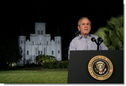 President George W. Bush delivers remarks on hurricane recovery efforts during an Address to the Nation in Jackson Square in New Orleans, La., Thursday, Sept. 15, 2005.  White House photo by Eric Draper