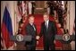 President George W. Bush and Russian President Vladimir Putin shake hands at the conclusion of their joint news conference in the East Room of the White House, Friday, Sept. 16, 2005 in Washington. White House photo by Eric Draper