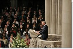 President George W. Bush speaks during the National Day of Prayer and Remembrance Service at the Washington National Cathedral in Washington, D.C., Friday, Sept. 16, 2005.  White House photo by Krisanne Johnson