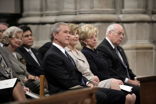 President George W. Bush, Laura Bush, Lynne Cheney and Vice President Cheney attend the National Day of Prayer and Remembrance Service at the Washington National Cathedral in Washington, D.C., Friday, Sept. 16, 2005. White House photo by Eric Draper