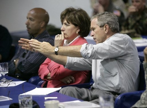 President George W. Bush gestures as he participates in a briefing on Hurricane Rita, Tuesday, Sept. 20, 2005, aboard the USS Iwo Jima in New Orleans, La., with Louisiana Governor Kathleen Blanco and New Orleans Mayor Ray Nagin. White House photo by Eric Draper