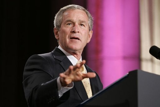President George W. Bush gestures as he addresses an audience, Wednesday, Sept. 21, 2005 at the Republican Jewish Coalition's 20th Anniversary Celebration in Washington. White House photo by Paul Morse