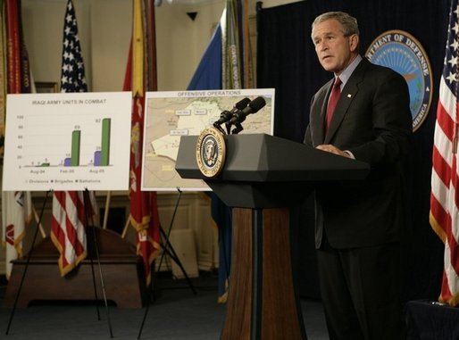 President George W. Bush delivers a statement Thursday, Sept. 22, 2005, on the War on Terror during a visit to the Pentagon. President Bush also thanked the leadership of the Pentagon for their help in the aftermath of Hurricane Katrina. White House photo by Eric Draper