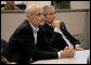 President George W. Bush and Homeland Security Secretary Michael Chertoff receive a briefing on Hurricane Rita Friday, Sept. 23, 2005 inside NORAD's U.S. Northern Command at Peterson Air Force Base in Colorado Springs, Colorado. White House photo by Eric Draper