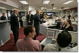 President George W. Bush addresses the media during a visit to FEMA headquarters Friday, Sept. 23, 2005.  White House photo by Paul Morse