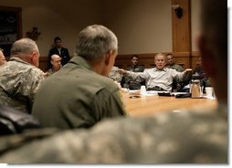 President George W. Bush participates in a briefing with the Joint Task Force on Hurricane Rita at Randolph Air Force Base, Texas, Sunday, Sept. 25, 2005.  White House photo by Eric Draper