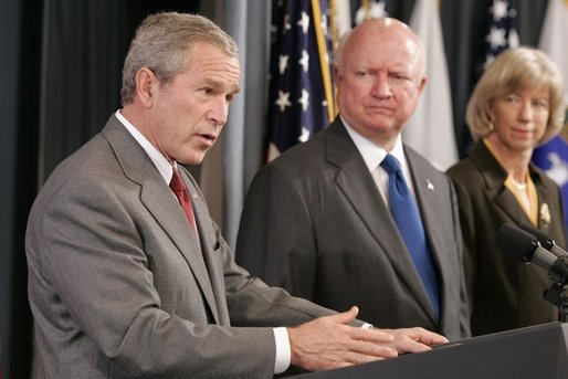 President George W. Bush, appearing at the U.S. Department of Energy, Monday, Sept. 26, 2005 in Washington, talks about the effects of Hurricane Rita on the energy situation in the Gulf of Mexico. President Bush is joined by U.S. Energy Secretary Samuel W. Bodman and U.S. Interior Secretary Gale Norton. White House photo by Paul Morse