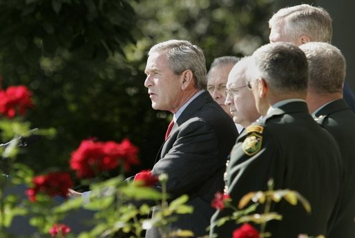 President George W. Bush issues a statement, Wednesday, Sept. 28, 2005 in the Rose Garden at the White House in Washington, on the war on terror following his meeting with U.S. Army Generals John Abizaid and George W. Casey. President Bush is also joined by Vice President Dick Cheney, Secretary of Defense Donald Rumsfeld and Joint Chiefs of Staff Chairman General Richard B. Myers. White House photo by Paul Morse