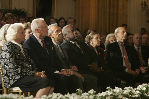 Associate Justices of the U.S. Supreme Court are in attendance Thursday, Sept. 29, 2005, during swearing-in ceremonies for Chief Justice John G. Roberts. From left are: Justice Sandra Day O'Connor; Justice Anthony Kennedy; Justice David H. Souter; Justice Clarence Thomas; Justice Ruth Bader Ginsburg and Justice Stephen G. Breyer. White House photo by Krisanne Johnson