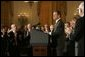 Chief Justice John Roberts acknowledges the audience after being sworn in Thursday, Sept. 29, 2005, during ceremonies in the East Room of the White House. White House photo by Krisanne Johnson
