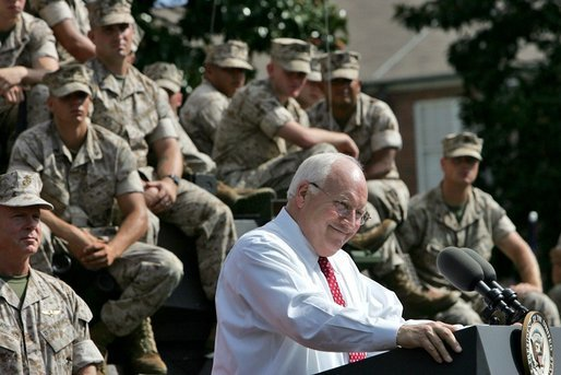 Vice President Dick Cheney addresses an estimated crowd of 4,500 Marines during a rally at Camp Lejeune in Jacksonville, NC, Monday, October 3, 2005. White House photo by David Bohrer