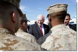 Vice President Dick Cheney shakes hands with U.S. Marine and Navy Personnel stationed at Marine Corps Air Station New River after speaking with the crowd in Jacksonville, NC, Monday October 3, 2005. White House photo by David Bohrer