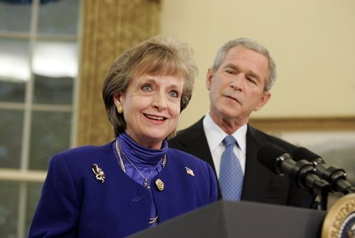 White House Counsel Harriet Miers speaks after being nominated by President George W. Bush as Supreme Court Justice during a statement from the Oval Office on Monday October 3, 2005. White House photo by Paul Morse
