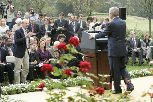 President George W. Bush listens to a reporter's question Tuesday, Oct. 4, 2005, during a news conference in the Rose Garden. The President touched upon a number of subjects including ongoing efforts in the wake of hurricanes Katrina and Rita, and his nomination of White House Counsel Harriet Miers to the U.S. Supreme Court. White House photo by Paul Morse
