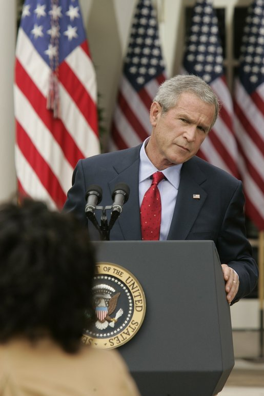 President Bush fields a question during a news conference in the Rose Garden Tuesday, Oct. 4, 2005. White House photo by Paul Morse